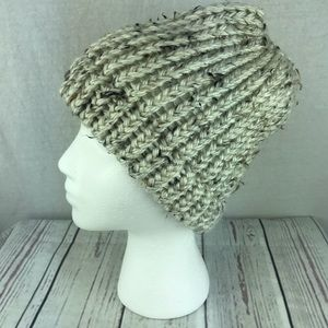 Accessories - Womens Homemade knit winter hat tan ponytail hole